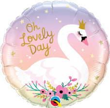 Oh Lovely Day Swan Foil Helium Balloon